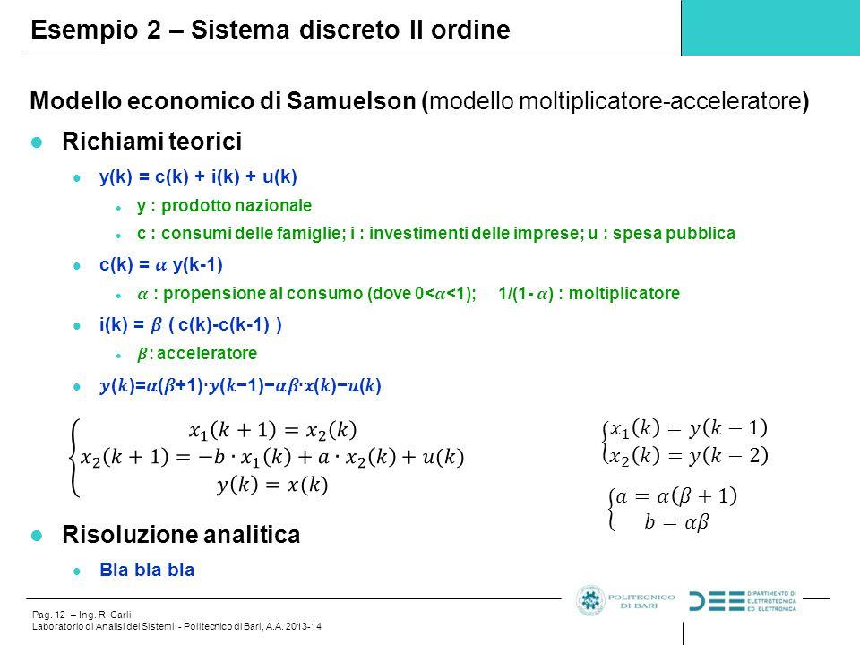 Pag. 12 – Ing. R. Carli Laboratorio di Analisi dei Sistemi - Politecnico di Bari, A.A. 2013-14 Esempio 2 – Sistema discreto II ordine