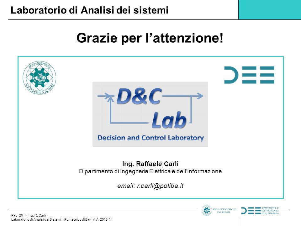 Pag. 20 – Ing. R. Carli Laboratorio di Analisi dei Sistemi - Politecnico di Bari, A.A. 2013-14 Grazie per l'attenzione! Laboratorio di Analisi dei sis