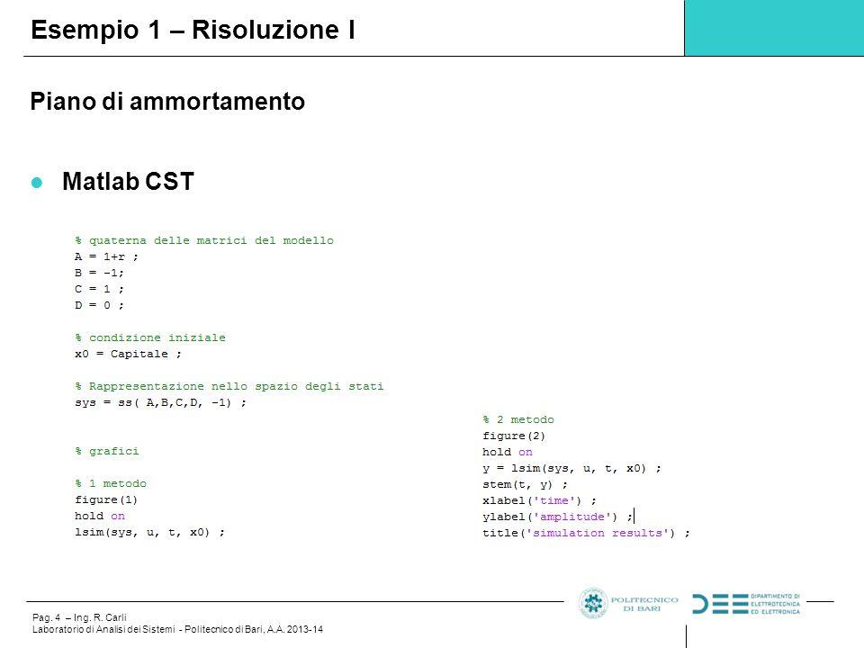 Pag. 4 – Ing. R. Carli Laboratorio di Analisi dei Sistemi - Politecnico di Bari, A.A. 2013-14 Esempio 1 – Risoluzione I Piano di ammortamento Matlab C