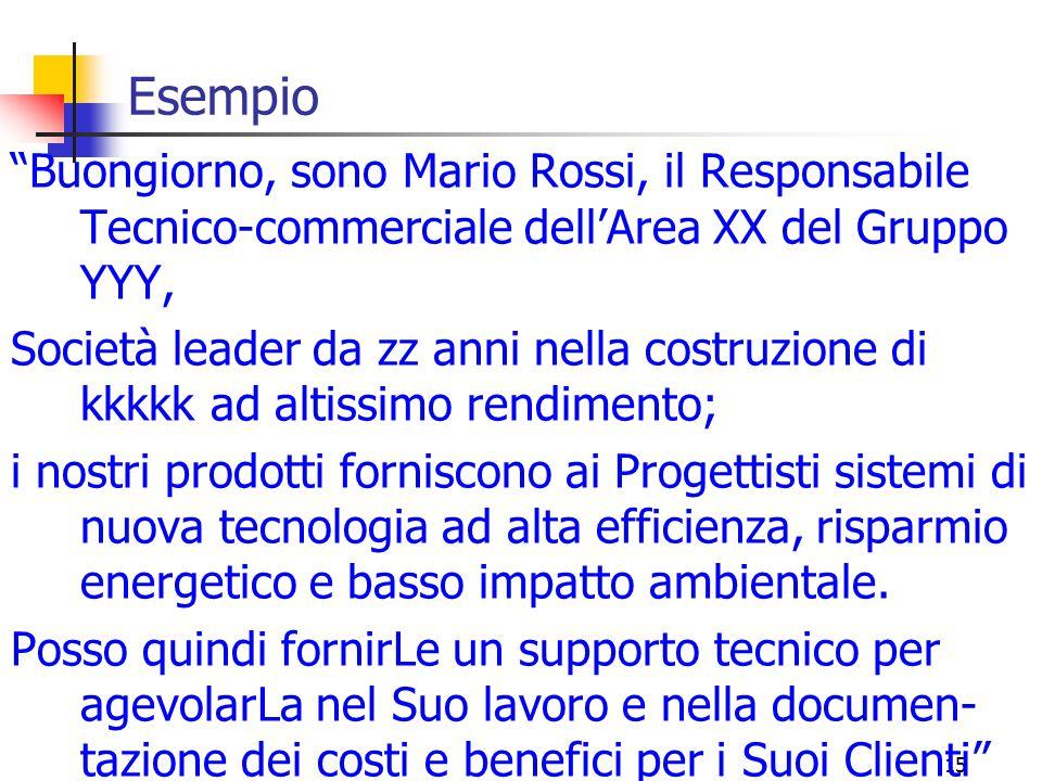 """15 Esempio """"Buongiorno, sono Mario Rossi, il Responsabile Tecnico-commerciale dell'Area XX del Gruppo YYY, Società leader da zz anni nella costruzione"""