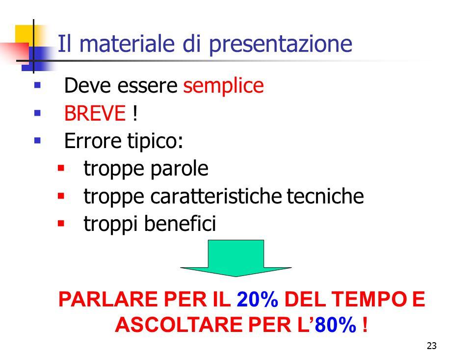 23 Il materiale di presentazione  Deve essere semplice  BREVE !  Errore tipico:  troppe parole  troppe caratteristiche tecniche  troppi benefici