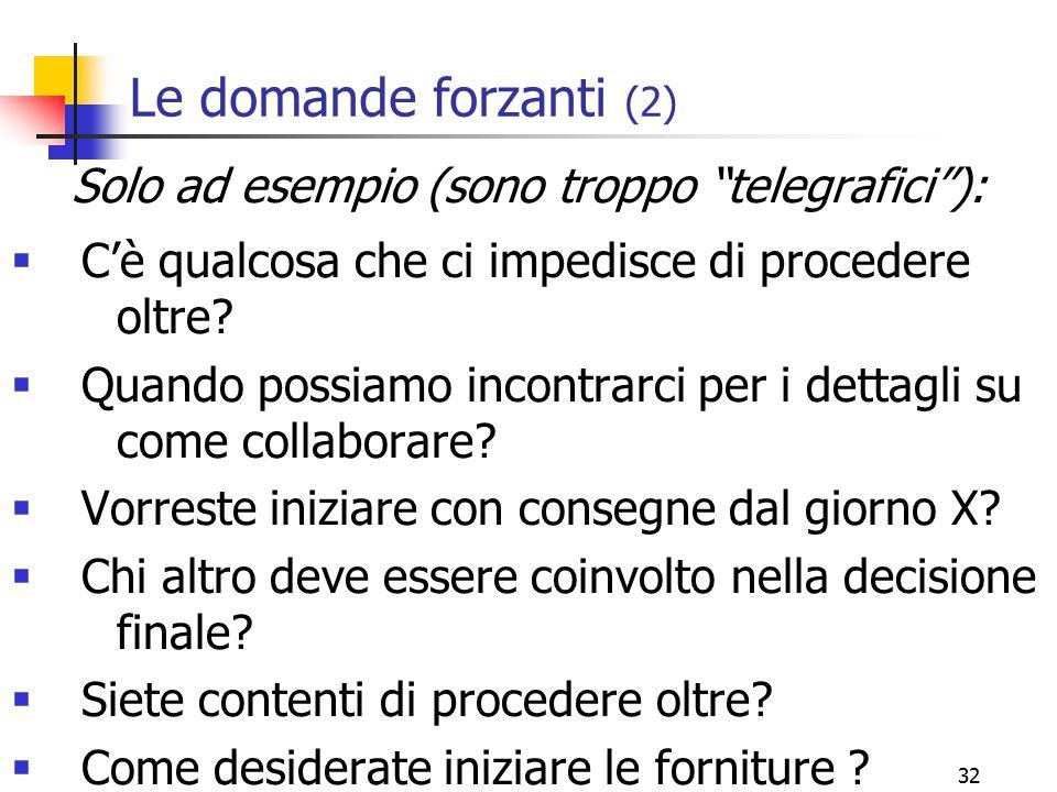 """32 Le domande forzanti (2) Solo ad esempio (sono troppo """"telegrafici""""):  C'è qualcosa che ci impedisce di procedere oltre?  Quando possiamo incontra"""