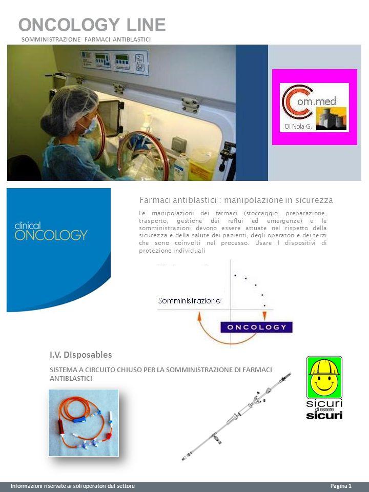 ONCOLOGY LINE Informazioni riservate ai soli operatori del settore Pagina 2 Posizione sanitariaCEClasseCND Dispositivo Medico0123I Sterile A03010102 CODICE Vedi tabelle Descrizione Dispositivo per somministrazione di farmaci chemioterapici
