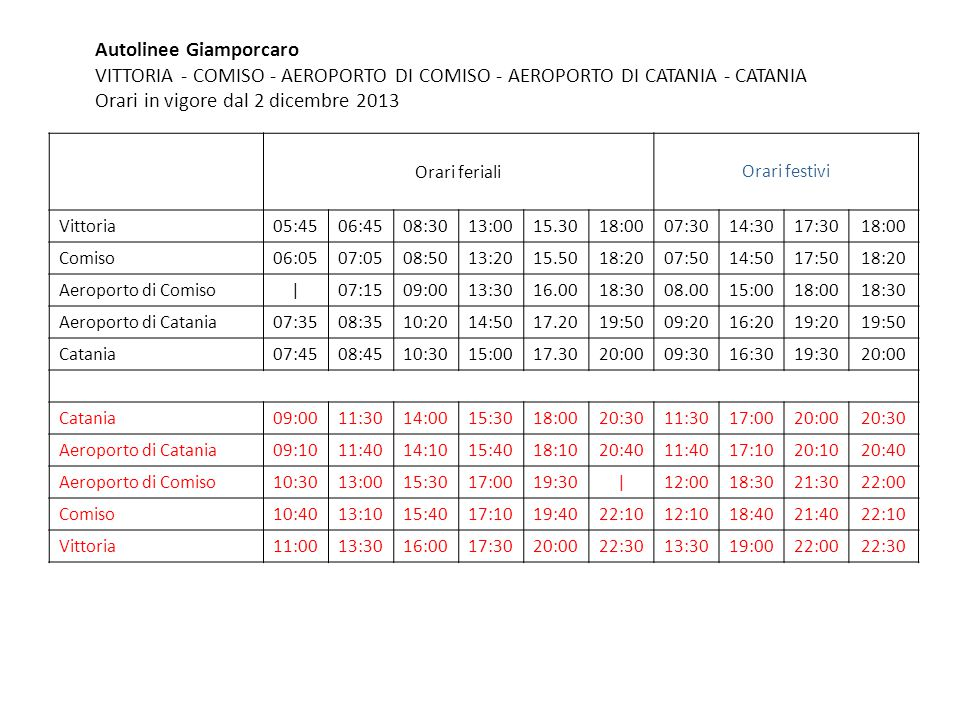 Autolinee Giamporcaro VITTORIA - COMISO - AEROPORTO DI COMISO - AEROPORTO DI CATANIA - CATANIA Orari in vigore dal 2 dicembre 2013 Orari ferialiOrari