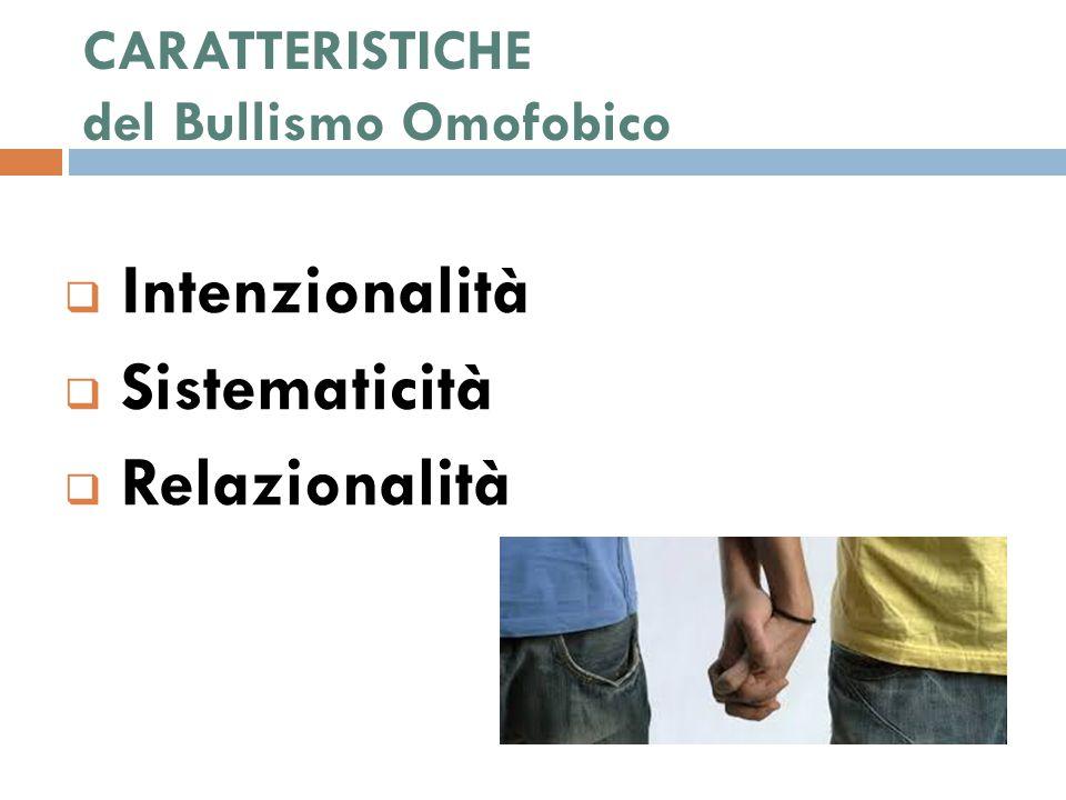 CARATTERISTICHE del Bullismo Omofobico  Intenzionalità  Sistematicità  Relazionalità