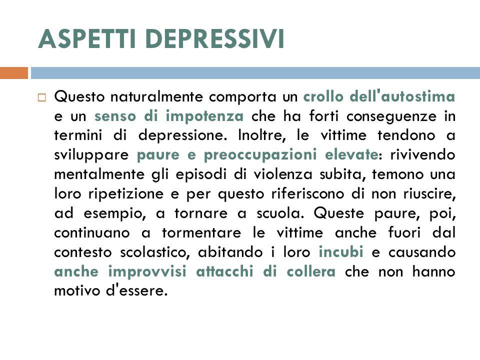 ASPETTI DEPRESSIVI  Questo naturalmente comporta un crollo dell autostima e un senso di impotenza che ha forti conseguenze in termini di depressione.
