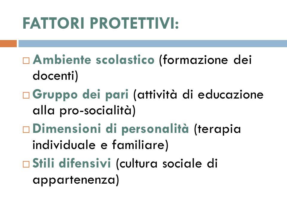 FATTORI PROTETTIVI:  Ambiente scolastico (formazione dei docenti)  Gruppo dei pari (attività di educazione alla pro-socialità)  Dimensioni di personalità (terapia individuale e familiare)  Stili difensivi (cultura sociale di appartenenza)