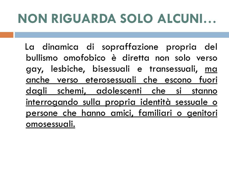 BULLISMO OMOFOBICO  Si riferirsi unicamente all omosessualità, e riguarda l esplicita situazione di prepotenza nei confronti di persone il cui orientamento omosessuale è noto; fa così riferimento al concetto di OMONEGATIVITA'