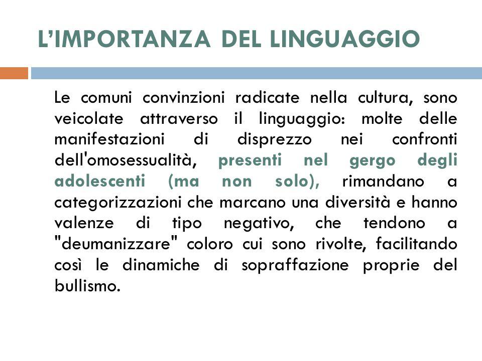 L'IMPORTANZA DEL LINGUAGGIO Le comuni convinzioni radicate nella cultura, sono veicolate attraverso il linguaggio: molte delle manifestazioni di dispr
