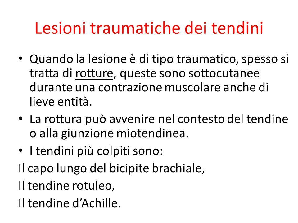 Lesioni traumatiche dei tendini Quando la lesione è di tipo traumatico, spesso si tratta di rotture, queste sono sottocutanee durante una contrazione