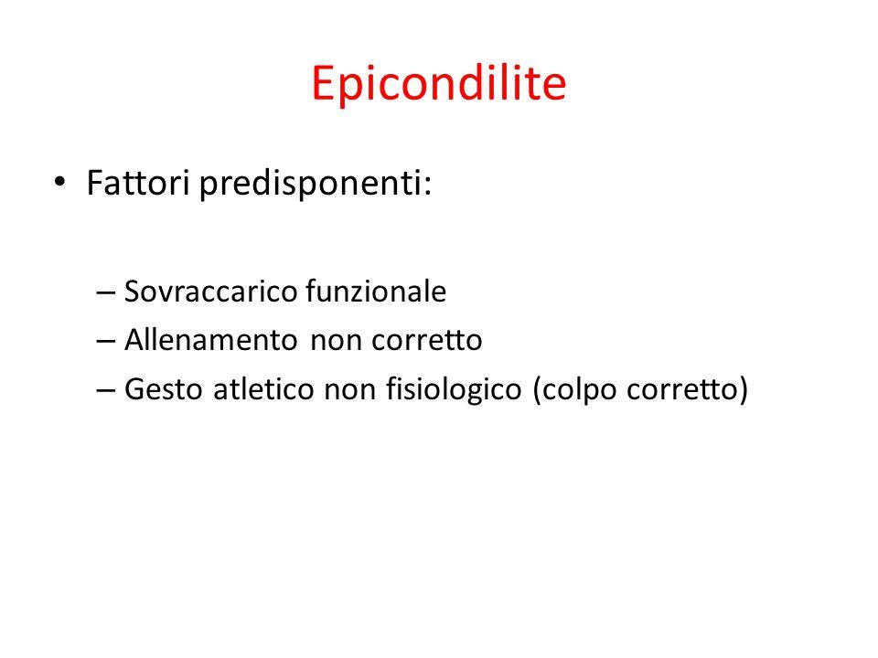 Epicondilite Fattori predisponenti: – Sovraccarico funzionale – Allenamento non corretto – Gesto atletico non fisiologico (colpo corretto)