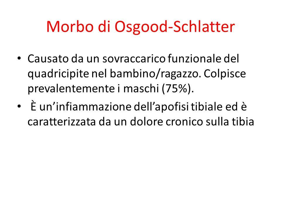 Morbo di Osgood-Schlatter Causato da un sovraccarico funzionale del quadricipite nel bambino/ragazzo. Colpisce prevalentemente i maschi (75%). È un'in