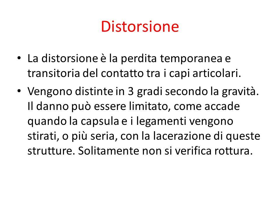 Distorsione La distorsione è la perdita temporanea e transitoria del contatto tra i capi articolari. Vengono distinte in 3 gradi secondo la gravità. I