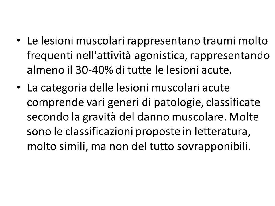 Le lesioni muscolari rappresentano traumi molto frequenti nell'attività agonistica, rappresentando almeno il 30-40% di tutte le lesioni acute. La cate