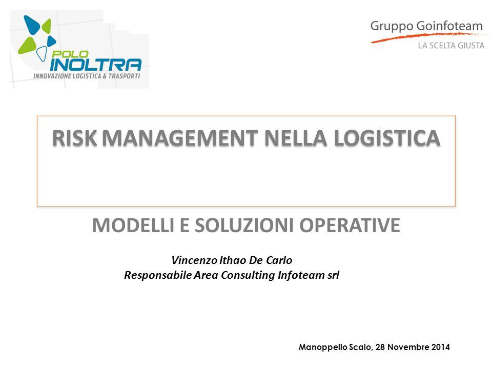 RISK MANAGEMENT NELLA LOGISTICA Manoppello Scalo, 28 Novembre 2014 Vincenzo Ithao De Carlo Responsabile Area Consulting Infoteam srl MODELLI E SOLUZIO
