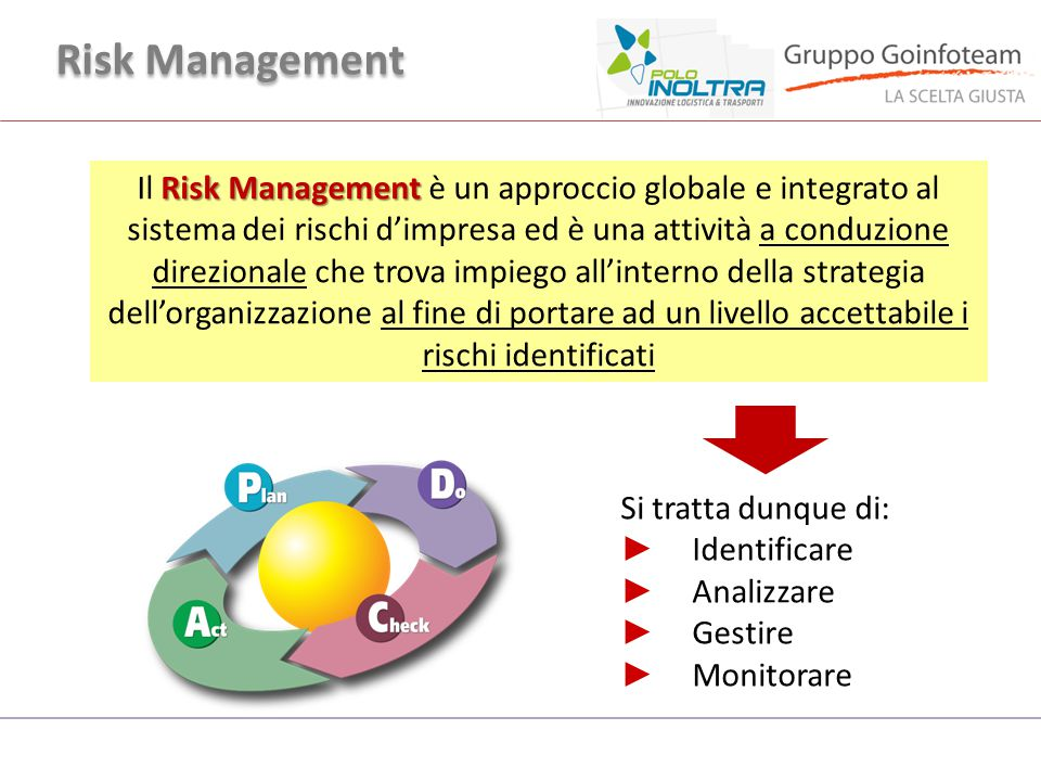 Risk Management Il Risk Management è un approccio globale e integrato al sistema dei rischi d'impresa ed è una attività a conduzione direzionale che t