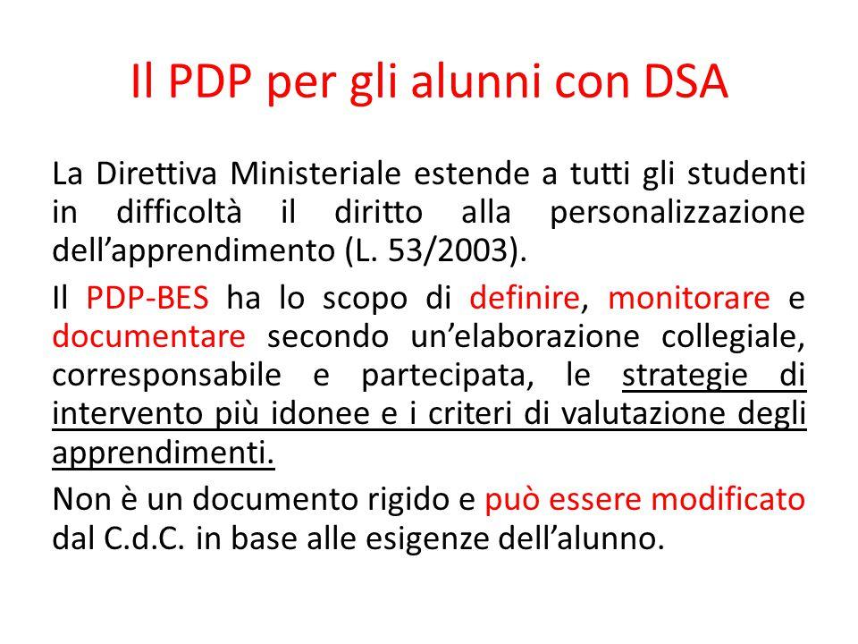 Il PDP per gli alunni con DSA La Direttiva Ministeriale estende a tutti gli studenti in difficoltà il diritto alla personalizzazione dell'apprendimento (L.