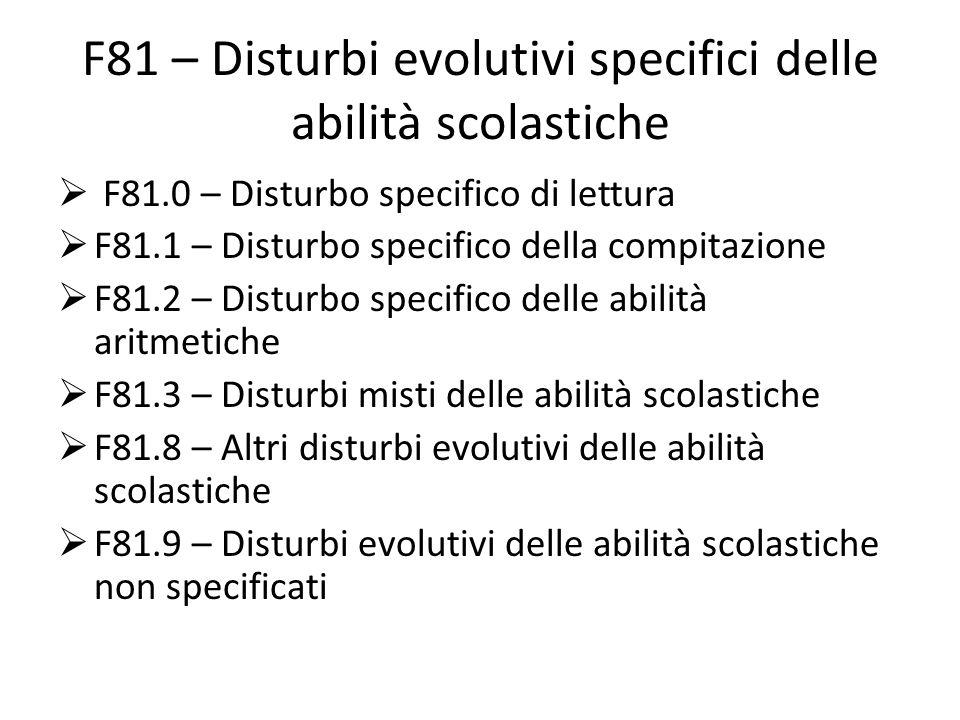 F81 – Disturbi evolutivi specifici delle abilità scolastiche  F81.0 – Disturbo specifico di lettura  F81.1 – Disturbo specifico della compitazione  F81.2 – Disturbo specifico delle abilità aritmetiche  F81.3 – Disturbi misti delle abilità scolastiche  F81.8 – Altri disturbi evolutivi delle abilità scolastiche  F81.9 – Disturbi evolutivi delle abilità scolastiche non specificati
