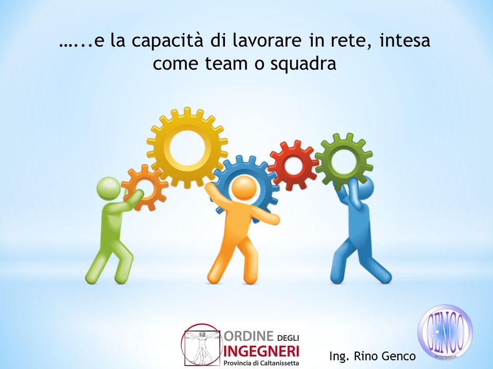 Ing. Rino Genco …...e la capacità di lavorare in rete, intesa come team o squadra