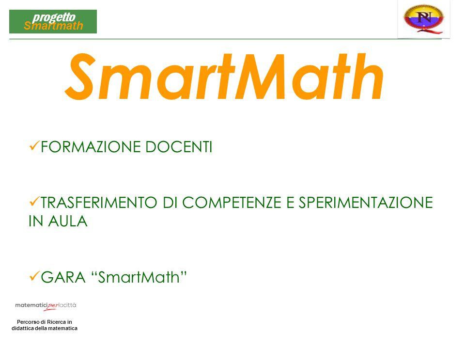 Matematica per la Città Percorso di Ricerca in didattica della matematica progetto Smartmath FORMAZIONE DOCENTI TRASFERIMENTO DI COMPETENZE E SPERIMEN