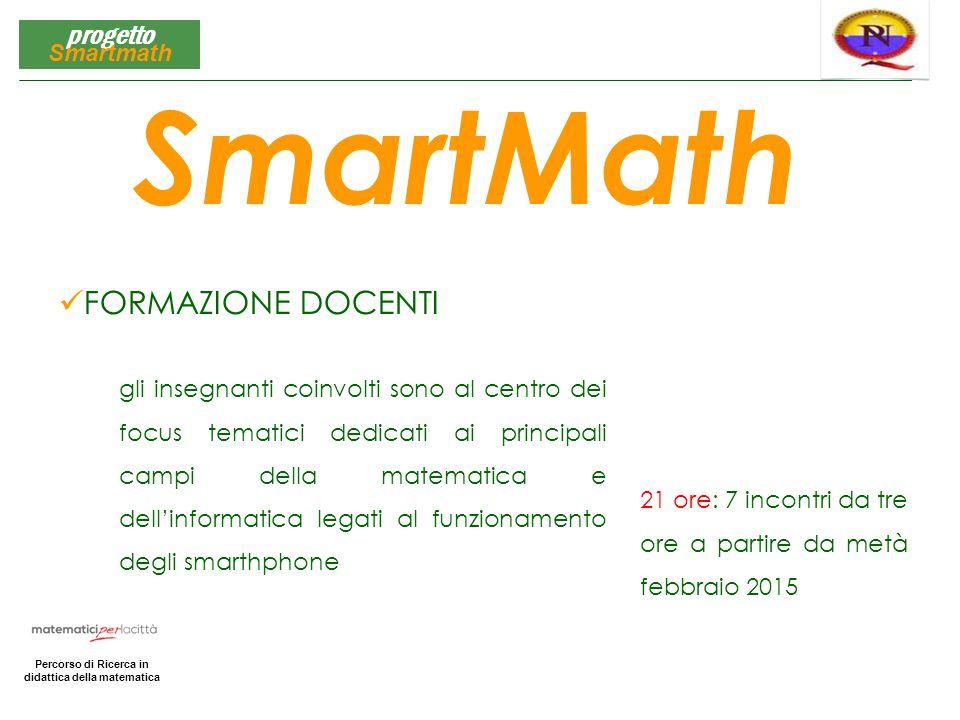 Matematica per la Città Percorso di Ricerca in didattica della matematica progetto Smartmath FORMAZIONE DOCENTI SmartMath gli insegnanti coinvolti son