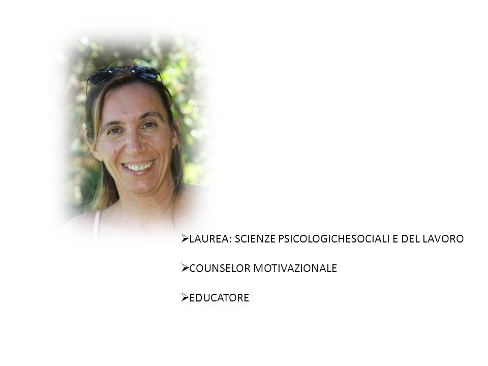  LAUREA: SCIENZE PSICOLOGICHESOCIALI E DEL LAVORO  COUNSELOR MOTIVAZIONALE  EDUCATORE