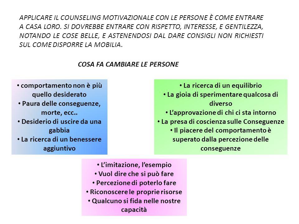 COSA FA CAMBIARE LE PERSONE APPLICARE IL COUNSELING MOTIVAZIONALE CON LE PERSONE È COME ENTRARE A CASA LORO.