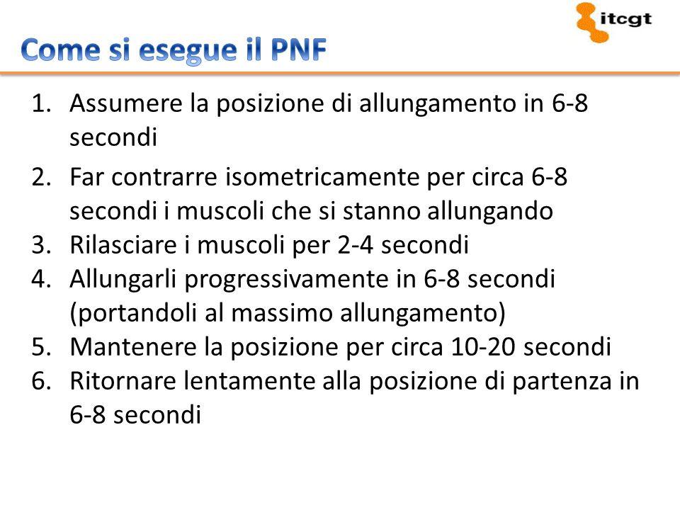 1.Assumere la posizione di allungamento in 6-8 secondi 2.Far contrarre isometricamente per circa 6-8 secondi i muscoli che si stanno allungando 3.Rila