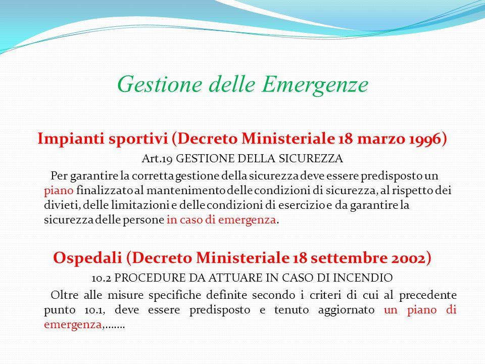Gestione delle Emergenze Uffici (Decreto Ministeriale 22 febbraio 2006 ) In diversi punti del decreto viene richiamato il piano di emergenza Attività commerciali (D.
