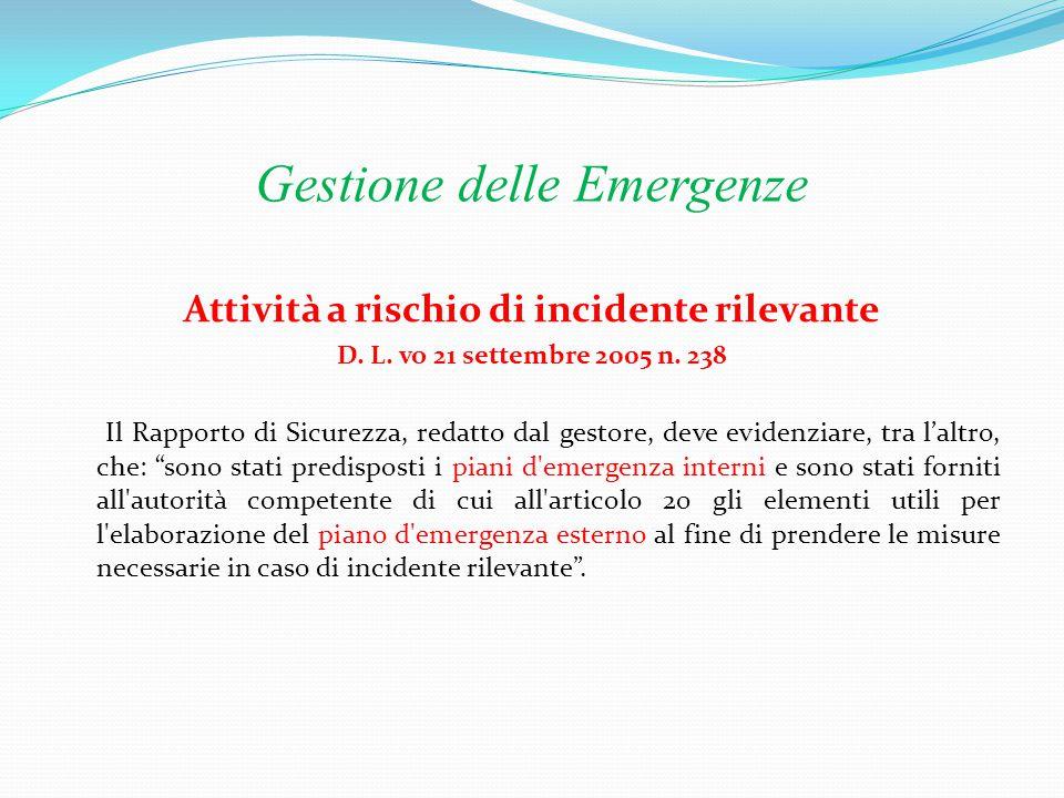 Gestione delle Emergenze CONTENUTI 1.Dati salienti dell'azienda e ciclo di produzione 2.