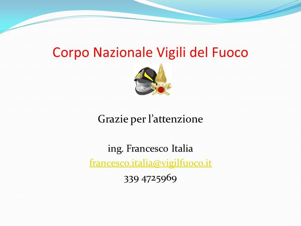 Corpo Nazionale Vigili del Fuoco Grazie per l'attenzione ing. Francesco Italia francesco.italia@vigilfuoco.it 339 4725969