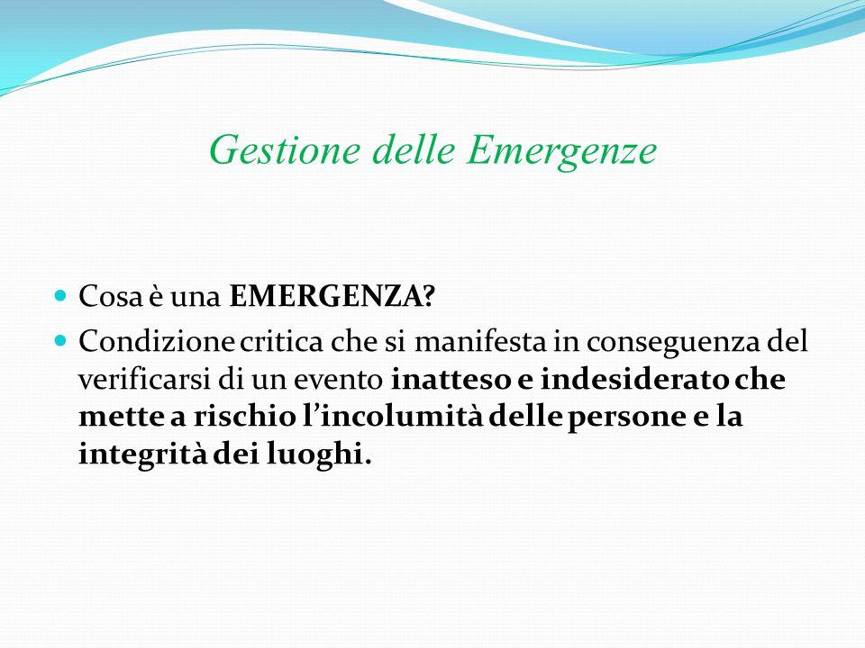 Gestione delle Emergenze Piano di emergenza Il Piano di emergenza costituisce l'insieme delle misure, procedure e azioni da attuare per fare fronte ad un'emergenza e ridurne gli effetti.