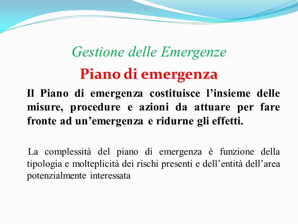 Gestione delle Emergenze Normativa Le norme che impongono la redazione di piani di emergenza sono numerose e sono riferite a vari tipi di attività.