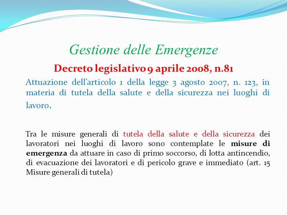 Gestione delle Emergenze Decreto Ministeriale 10 marzo 1998 Attuazione dell'articolo 1 della legge 3 agosto 2007, n.
