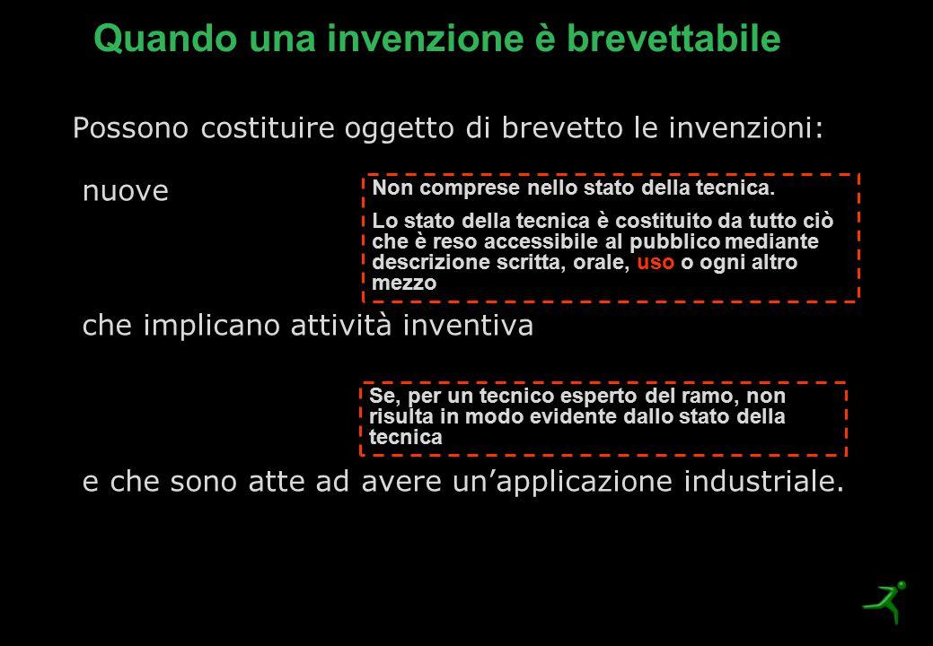 Possono costituire oggetto di brevetto le invenzioni: nuove che implicano attività inventiva e che sono atte ad avere un'applicazione industriale. Non