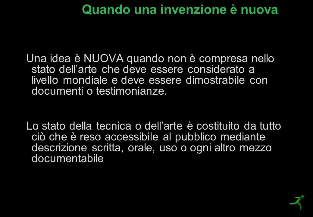 Quando una invenzione è nuova Una idea è NUOVA quando non è compresa nello stato dell'arte che deve essere considerato a livello mondiale e deve esser
