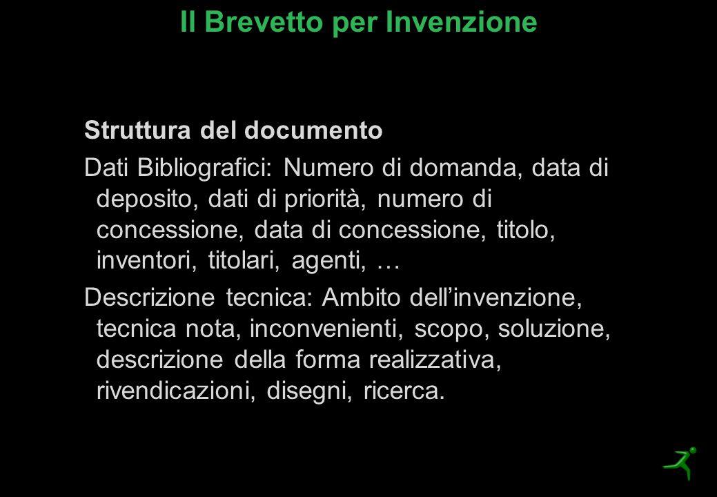 Il Brevetto per Invenzione Struttura del documento Dati Bibliografici: Numero di domanda, data di deposito, dati di priorità, numero di concessione, d