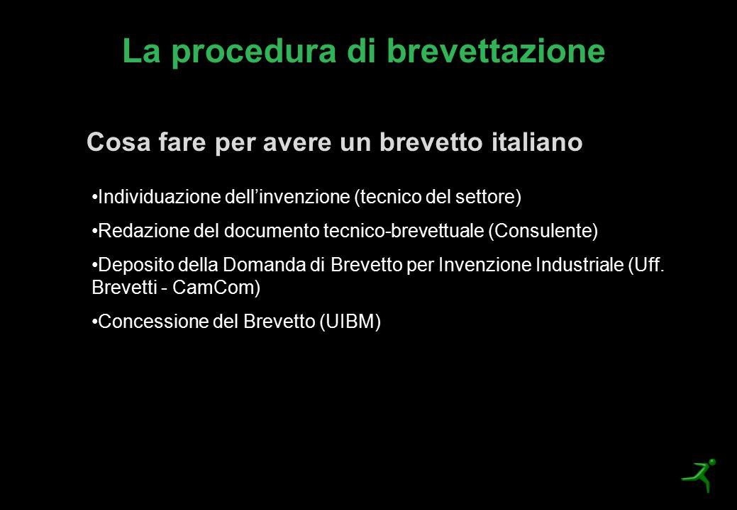 La procedura di brevettazione Cosa fare per avere un brevetto italiano Individuazione dell'invenzione (tecnico del settore) Redazione del documento te