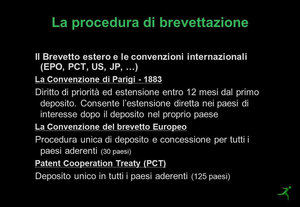 La procedura di brevettazione Il Brevetto estero e le convenzioni internazionali (EPO, PCT, US, JP, …) La Convenzione di Parigi - 1883 Diritto di prio