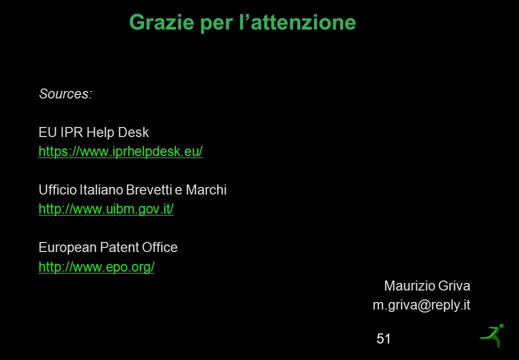 Grazie per l'attenzione Sources: EU IPR Help Desk https://www.iprhelpdesk.eu/ Ufficio Italiano Brevetti e Marchi http://www.uibm.gov.it/ European Pate