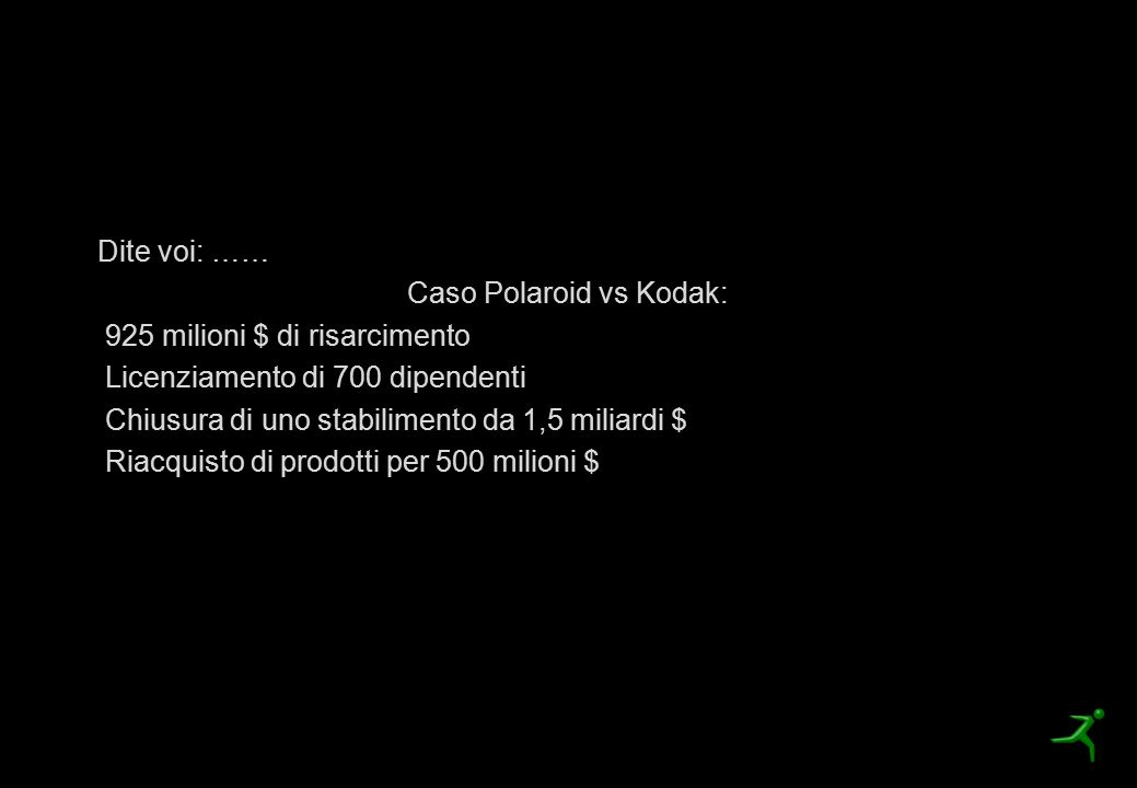 Quanto costa non brevettare? Dite voi: …… Caso Polaroid vs Kodak: 925 milioni $ di risarcimento Licenziamento di 700 dipendenti Chiusura di uno stabil