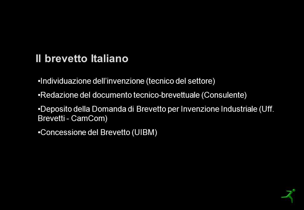 La procedura di brevettazione Il brevetto Italiano Individuazione dell'invenzione (tecnico del settore) Redazione del documento tecnico-brevettuale (C