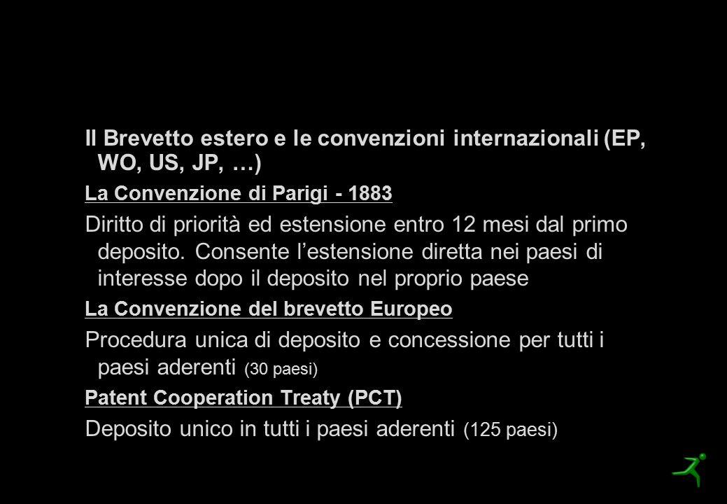 La procedura di brevettazione Il Brevetto estero e le convenzioni internazionali (EP, WO, US, JP, …) La Convenzione di Parigi - 1883 Diritto di priori
