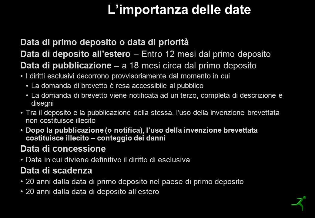 Data di primo deposito o data di priorità Data di deposito all'estero – Entro 12 mesi dal primo deposito Data di pubblicazione – a 18 mesi circa dal p