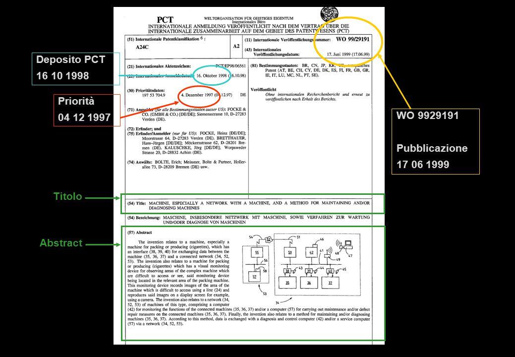 Titolo Abstract Priorità 04 12 1997 WO 9929191 Pubblicazione 17 06 1999 Deposito PCT 16 10 1998