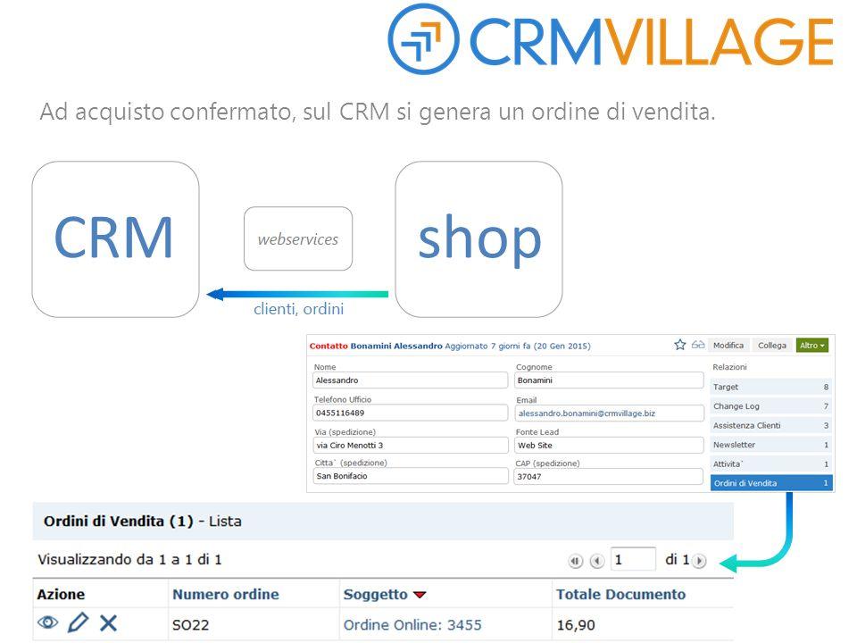Ad acquisto confermato, sul CRM si genera un ordine di vendita. CRMshop