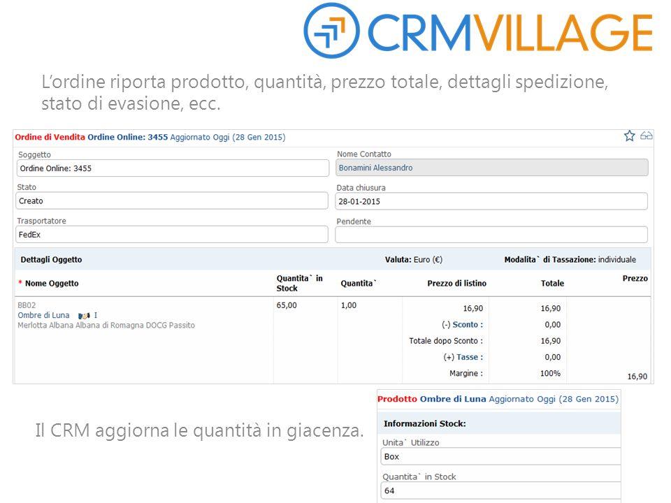 L'ordine riporta prodotto, quantità, prezzo totale, dettagli spedizione, stato di evasione, ecc. Il CRM aggiorna le quantità in giacenza.
