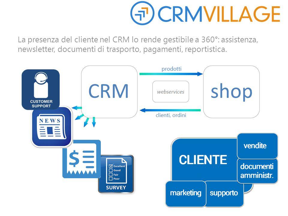 La presenza del cliente nel CRM lo rende gestibile a 360°: assistenza, newsletter, documenti di trasporto, pagamenti, reportistica.