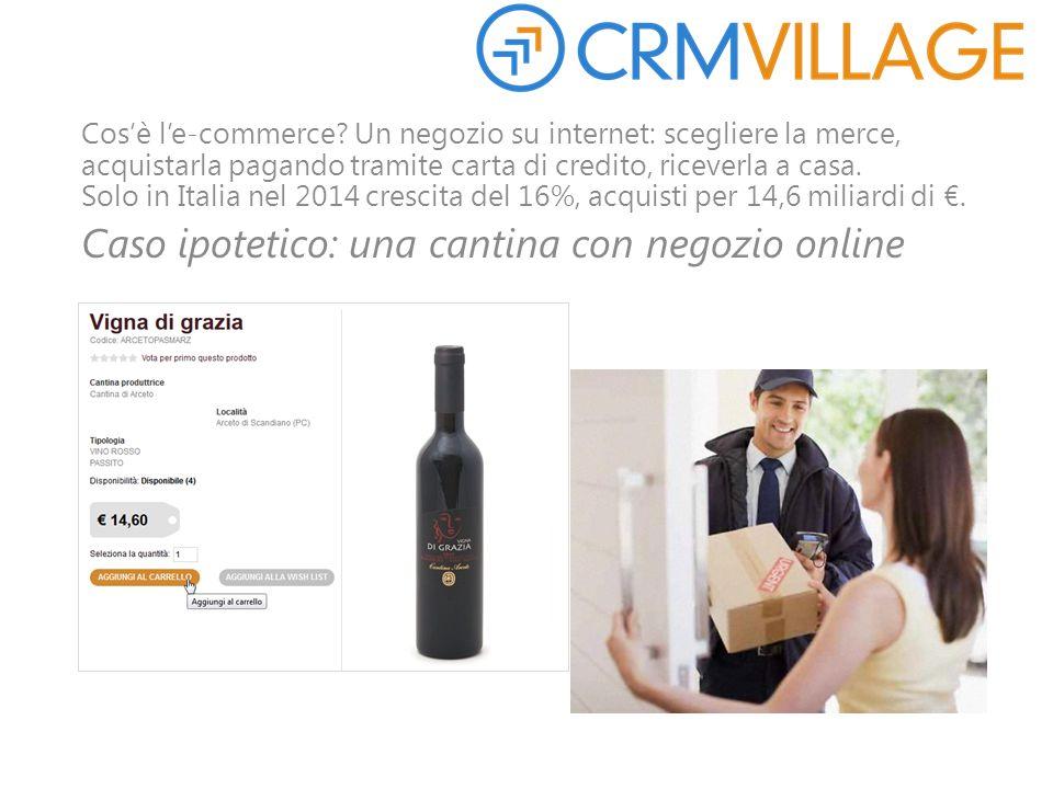 Cos'è l'e-commerce? Un negozio su internet: scegliere la merce, acquistarla pagando tramite carta di credito, riceverla a casa. Solo in Italia nel 201