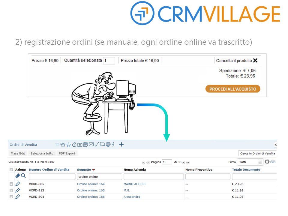 2) registrazione ordini (se manuale, ogni ordine online va trascritto)